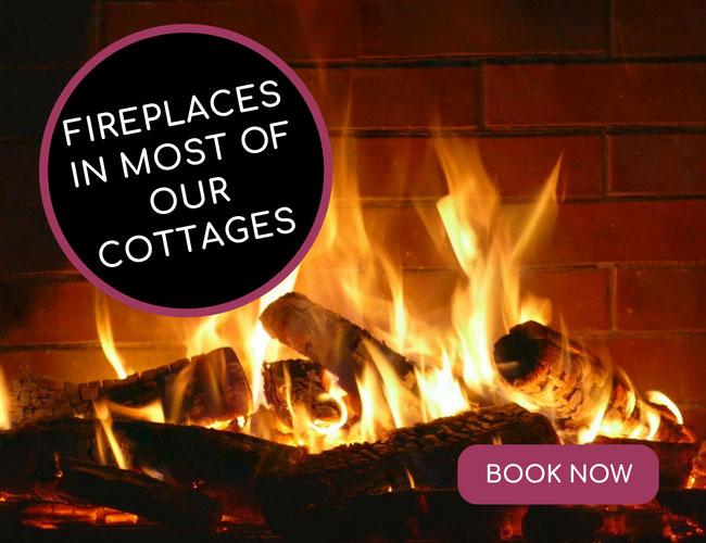 Fireplace in most of our cottages - BOOK NOW for a Cosy Winter Away
